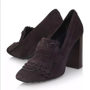 Tod's Gomma Fringed Dark Brown Suede Chunky Pumps